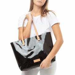 Maxi-bag nera in pvc, Primadonna, 133764210PVNEROUNI, 002a