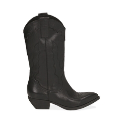 Camperos neri in pelle, tacco 4 cm, Primadonna, 157732902PENERO036, 001 preview