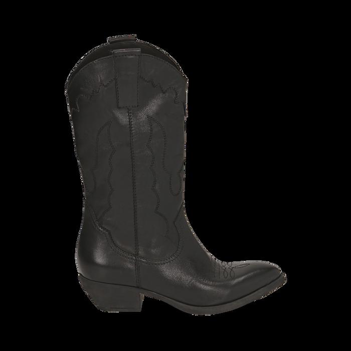 Camperos neri in pelle, tacco 4 cm, Primadonna, 157732902PENERO036