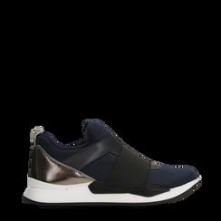 Sneakers blu in lycra con fascia elastica, Primadonna, 121617843LYBLUE035, 001a