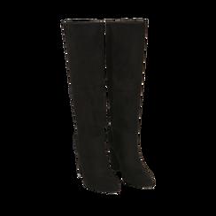Stivali neri in microfibra, tacco 9,50 cm , Primadonna, 163026501MFNERO038, 002a