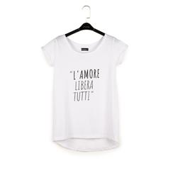 T-shirt blanc en coton avec imprimé, Vêtements, 15I700335TSBIANL, 003 preview