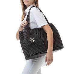 Maxi-bag nera in eco-pelle intrecciata , Borse, 135786118EINEROUNI, 002a