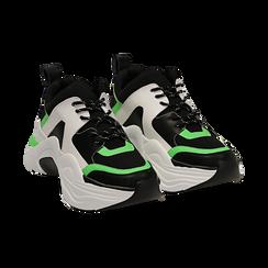 Dad shoes nero/verdi in tessuto tecnico, zeppa 8 cm ,