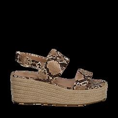 Sandali platform beige in eco-pelle, effetto snake skin, zeppa in corda 7 cm , Primadonna, 132708157PTBEIG035, 001a