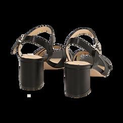 Sandali neri in eco-pelle, tacco 7 cm , PROMOTIONS, 152990638EPNERO036, 004 preview
