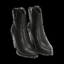 Camperos neri in eco-pelle, tacco 9 cm, Stivaletti, 154930037EPNERO035, 002 preview