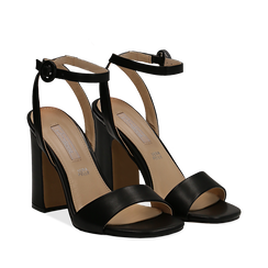 Sandali neri in eco-pelle, tacco trapezio 10,50 cm, Scarpe, 132165612EPNERO035, 002a