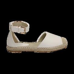 Espadrillas bianche in eco-pelle con cinturino, Primadonna, 154905188EPBIAN035, 001 preview