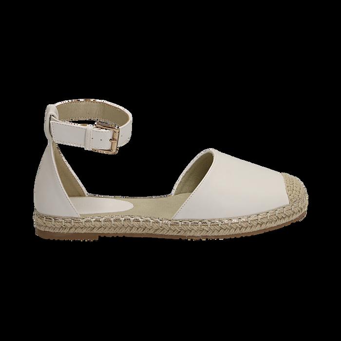 Espadrillas bianche in eco-pelle con cinturino, Primadonna, 154905188EPBIAN035