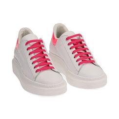 Sneakers bianco/fuxia in pelle, Primadonna, 17L600102PEBIFU035, 002 preview