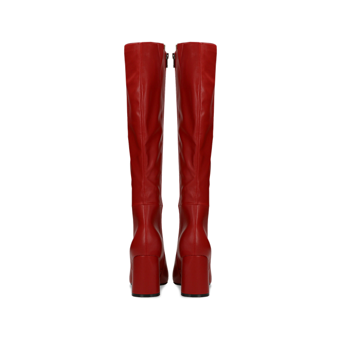 Stivali rossi punta arrotondata, tacco 7,5 cm