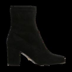 Tronchetti neri scamosciati, tacco 7,5 cm, Scarpe, 122115991MFNERO, 001 preview
