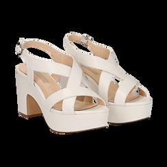 Sandali con plateau bianchi in eco-pelle, tacco 9 cm , Scarpe, 138402258EPBIAN037, 002 preview