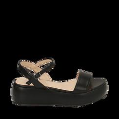 Sandali neri in eco-pelle, zeppa 5 cm , Zapatos, 159790131EPNERO038, 001a