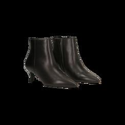 Tronchetti neri in vera pelle, tacco a rocchetto 6 cm, Primadonna, 12D618402VINERO036, 002