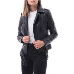 Biker jacket nera in eco-pelle, Abbigliamento, 146506331EPNERO, 001 preview