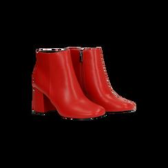 Tronchetti rossi, tacco 7,5 cm, Scarpe, 122182021EPROSS, 002 preview