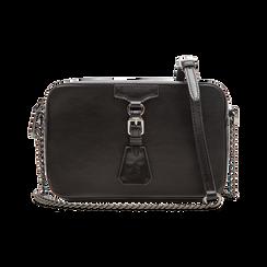 Camera bag nera con tracolla, ecopelle, Primadonna, 121818008EPNEROUNI, 001 preview