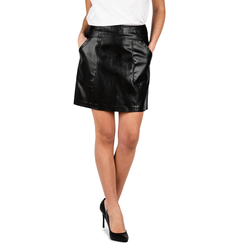 Mini jupe noir en simili-cuir imprimé serpent, Primadonna, 156501201PTNEROM, 001a