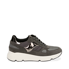 Sneakers grises en tissu technique, compensée 4 cm, Primadonna, 162801993TSGRIG036, 001a