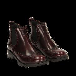 Chelsea boots bordeaux in eco-pelle abrasivata, Stivaletti, 140618206ABBORD035, 002a