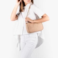 Petit sac porté épaule beige en microfibre, Sacs, 155127201MFBEIGUNI, 002a