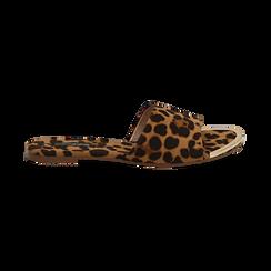 Mules flat leopard in microfibra, Saldi, 134989113MFLEOP036, 001 preview