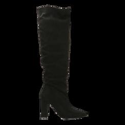 Stivali neri scamosciati con gambale dritto, tacco quadrato 9,5 cm, Primadonna, 122166717MFNERO036, 001a