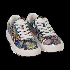 Sneakers nero/blu stampa pitone, Scarpe, 152607101PTNEBL, 002 preview