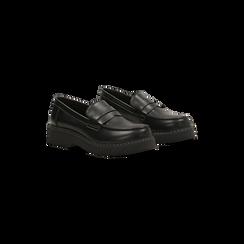 Mocassini neri con suola alta, tacco basso, Scarpe, 120639018EPNERO, 002 preview