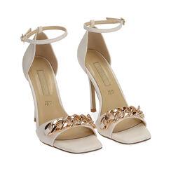 Sandali bianchi con catena, tacco 10,5 cm , Primadonna, 172114211EPBIAN036, 002 preview