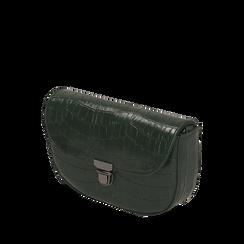Borsa piccola verde in eco-pelle stampa cocco, Primadonna, 146600202CCVERDUNI, 002a