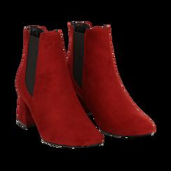 Ankle boots bordeaux in microfibra, tacco trapezio 6 cm , Stivaletti, 142707127MFBORD035, 002 preview