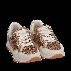 Sneakers en purpurina color dorado/rosa, Zapatos, 152669937GLRAOR039, 002a