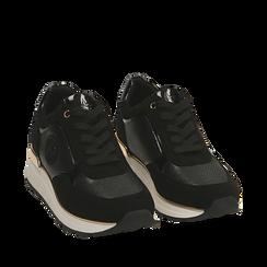 Sneakers nere in microfibra, zeppa 4 cm , Primadonna, 162826712MFNERO035, 002a