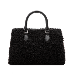 Borsa a mano nera in eco-shearling, Primadonna, 125786551EPNEROUNI, 002 preview