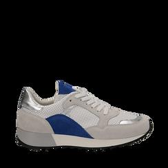 Sneakers bianche in vero camoscio dettagli blu con suola dentellata, Scarpe, 131602236CMBLUE036, 001a