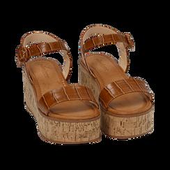 Sandali cuoio stampa cocco, zeppa 7,50 cm, Scarpe, 154967318CCCUOI, 002 preview