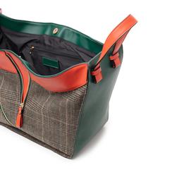 Borsa grande arancio in eco-pelle con dettagli in tweed , Borse, 142400200EPARANUNI, 004 preview