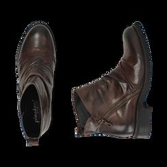 Biker boots marroni in pelle di vitello drappeggiata, Stivaletti, 14A919608VICUOI035, 003 preview