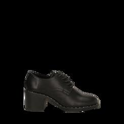 Francesine stringate nere con mini-borchie e punta tonda, 129322751EPNERO036, 001a