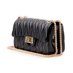 Mini-bag nera in pvc, Saldi Estivi, 137409999PVNEROUNI, 004 preview