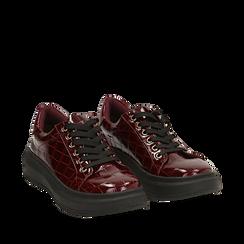 Sneakers bordeaux in vernice effetto coccodrillo, suola 4 cm , Scarpe, 142019051VEBORD035, 002a