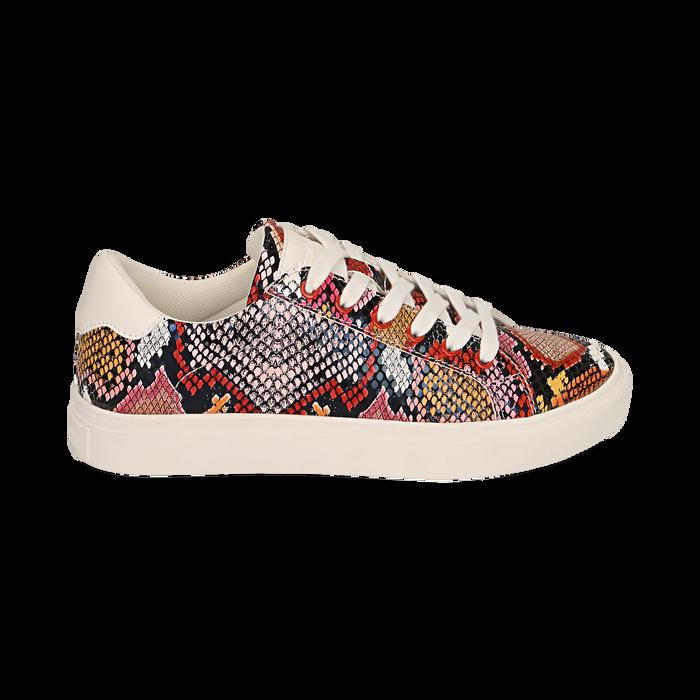 Sneakers nero/rosse stampa pitone, Scarpe, 152607101PTNERS