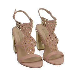 Sandalias en microfibra tachonada color nude, tacón 10 cm , OPORTUNIDADES, 152183131MFNUDE036, 002 preview