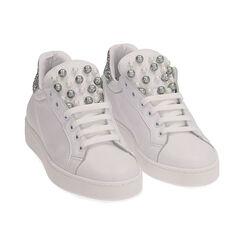 Baskets en cuir blanc à paillettes argentées, Primadonna, 17L600400PEBIAR035, 002 preview