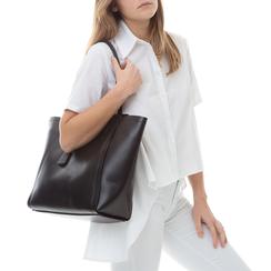 Maxi-bag nera in eco-pelle con design a trapezio, Borse, 133763772EPNEROUNI, 002a