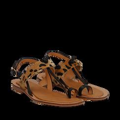 Sandali infradito neri in eco-pelle con dettaglio leopard, Primadonna, 135201202EPNERO035, 002a