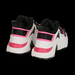 Dad shoes nero/fucsia in tessuto tecnico, zeppa 8 cm , Scarpe, 147580471TSNEFU036, 004 preview